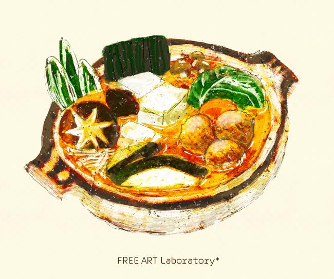 冬の鍋のイラスト Free Art Laboratory